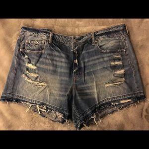 Destroyed Midi Jean Shorts